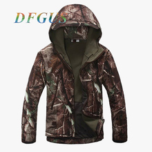 Men's Military Shark Skin Softshell Tactical Jacket Waterproof Winter Men Coat Camouflage Hooded Camo Combat Army Clothing(China)