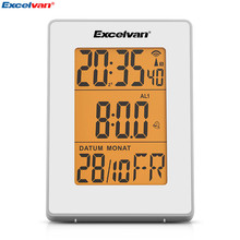 Excelvan Digital Precision Radio Controlled Alarm LCD Display in Orange Backlight Wall Moutable Desk Stand Clock Thermometer(China)