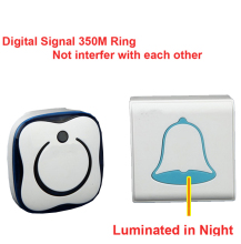 luminated bell wireless bell noctilucent doorbell Waterproof 380 Meter door chime door ring digital signal ring