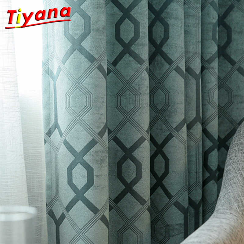 Green Comfortable Curtain Colorful Geometric Curtains for Bedroom Living Room Home spring summer Blackout 80% Curtain WP110 *30