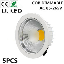 5PCS 5W 7W 10W 12W 15W 20W 30W 40W 50W 60W  COB downlight Dimmable Recessed LED Ceiling Lamp Spot Light White/warm led lamp cree
