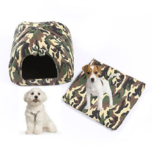 Camouflage Dog Beds For Small Dogs Nest Products For Cats Winter Warm Dog House Beds Cat Tent Kennel Hondenmand Pet Supplies(China)