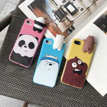 3D cute cartoon Polar bears brown panda phone Cases For iphone 6 6s 6plus 7 7Plus cute soft silicone case with toy back cover