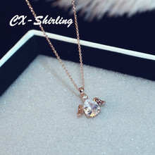 CX-Shirling New Fashion Crystal Waterdrop Pendant Necklace Women Wing CC Chain Jewelry Valentine Necklaces Jewelry Gift(China)