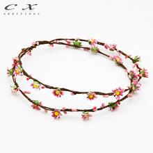 CXADDITIONS Handmade Layer Flower Rattan Head Crown Wreath Halo Circlet Garland Girls Bridal Headdress Wedding Hair Pieces(China)