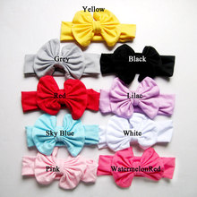 girl headwraps cotton top bow headbands turban yellow gray black red lilac sky blue white pink(China)