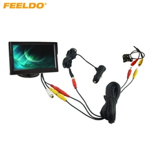 "FEELDO Car Cigarette Lighter Power RCA Video Cable 5"" Stand-alone Monitor 4-LED Rear View Camera Kits Fast Quick Install #2218"