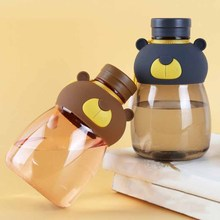 1PC 540ML Creative Bear Shape Plastic Space Bottle Cartoon Water Bottle Portable With Lid Rope Drinkware Accessories