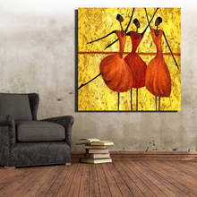 African Women Oil Painting Print On Canvas Abstract Dancer Wall Art Prints And Posters HD Pictures Cuadros For House Decoration(China)
