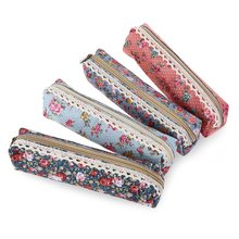 2016 New Mini Cute Storage Bag Fresh Elegant Canvas Flower Floral Pen Bag Pencil Case Makeup Pouch Holder School Stationery(China)