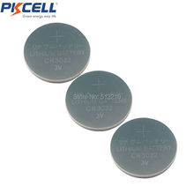 3 X PKCELL 3V CR3032 Lithium Battery BR3032 DL3032 Button Cell Batteries(China)