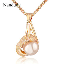 Buy Nandudu Mesh Pearl Pendant Chain Necklace Fashion Lady White Clear Crystal Women Girl Jewelry Gift N959 for $4.74 in AliExpress store