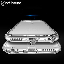 Case For iPhone 6 6S Crystal Clear Cover Soft Silicone TPU Phone Cover Dust Plug For iPhone 6 Plus 6S Plus Case Coque ARTISOME(China)