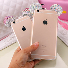 Hot Luxury 3D Diamond Glitter Mickey Minnie Mouse Ears Rhinestone Clear Phone Cases For iPhone X 8 7 7Plus 5S 6 6S 6Plus 6sPlus(China)