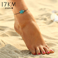 17KM Fashion Brand Vintage Cut Tortoise Pendant Anklet Beach Foot Leather Chain 2017 New Summer Anklets Foot Jewelry Gift(China)