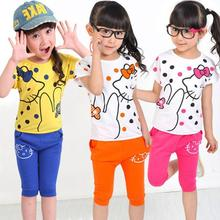 V-TREE Girls summer clothes new summer 2015 fashion girls clothing sets cartoon hello kitty set kids clothes sets baby clothing