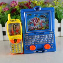 Plastics Nostalgic puzzle toys wholesale two - in - one laptop computer water machine game children 's water ring toys