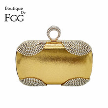 Socialite Women Crystal Evening Clutch Bags Knuckle Box Finger Ring Diamond Party Handbags & Purses Bridal Wedding Shoulder Bag