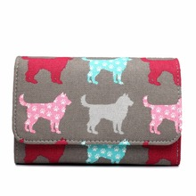 5 Pieces Women Purses Wallets Multi Functional Canvas Dog Print Coin Card Organizer Clutch Hand Bag Money Bag YD1687(China)