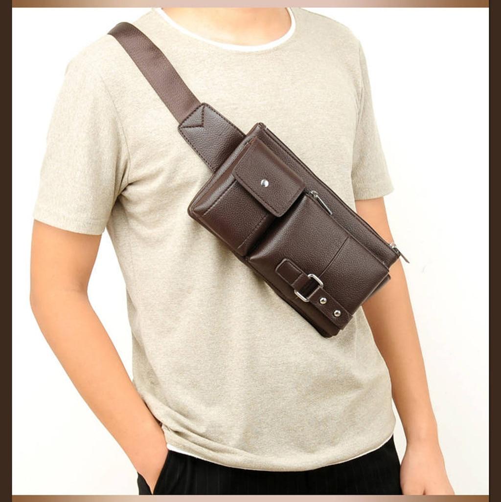 Retro Men Genuine Leather Brown Belt Bag Sport Pack Waist Wallet Sling Chest Bag