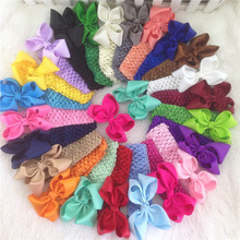 3.5inch 23pcs/lot Boutique Hair Ribbon Bows with 1.5inch Crochet Headband for Girls and Kids Children Headwear(China)