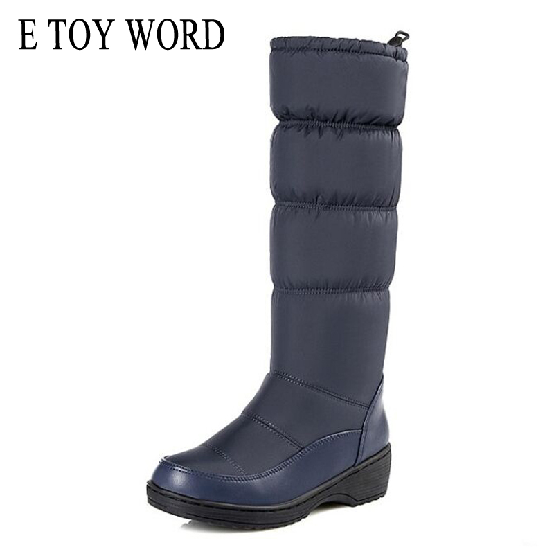 E TOY WORD 2018 fashion warm knee high Snow boots women round toe soft leather warm down winter thick fur ladies winter shoes<br>