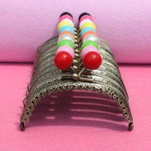 20pcs wholesale High Quality 8.5 CM small candy head bead Metal Purse Frame handle Completed Holes for DIY bag accessory(China)