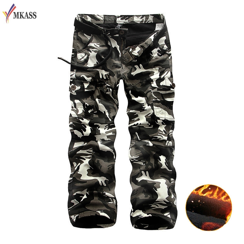 MKASS Cargo Pants Mens Spring 100% Cotton Loose Straight Trousers Pocket Full Length Mens Army Green Camouflage Tactical Joggers
