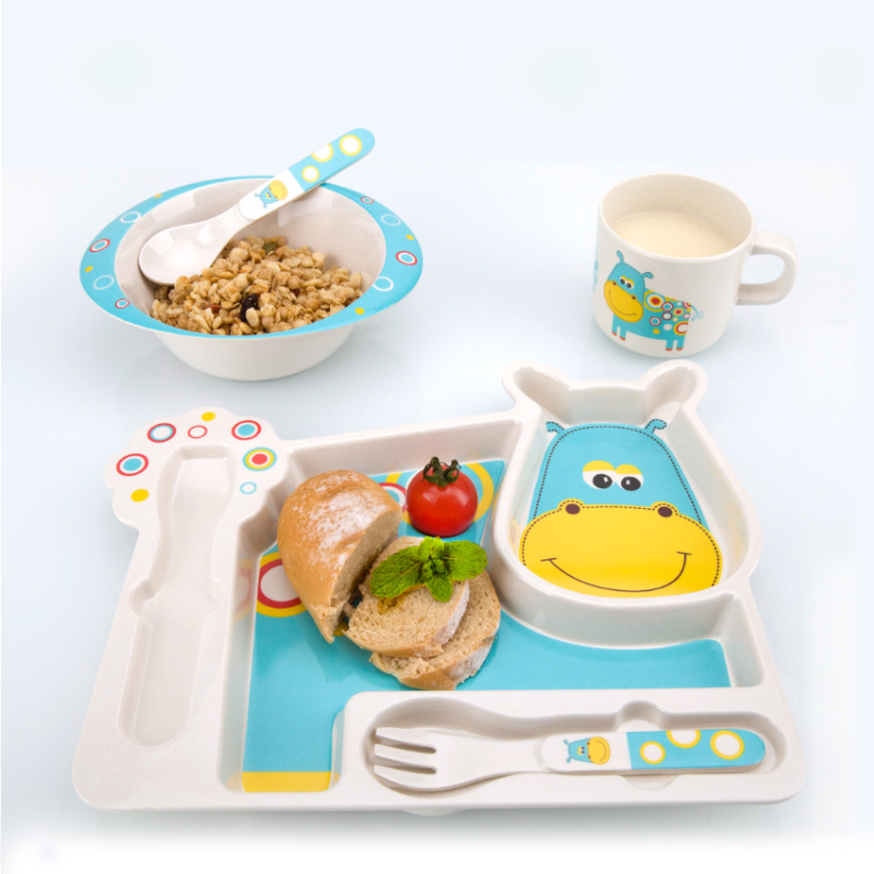 2017 Brand New Bamboo Tableware For Children Baby Feeding Set Plate Bowl Cup Fork Spoon Infant Dishes Baby Dinnereware Food Sets (11)