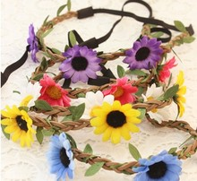 wholesale retail fashion bohemian sunflower braid leather headband popular beach headband hair accessories assorted colors(China)