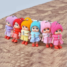 CXZYKING 4pcs/lot Toys Soft Interactive Baby Dolls Toy Key Chain Doll Keychain for Girls Key Holder Mobile Phone Plush Pendant