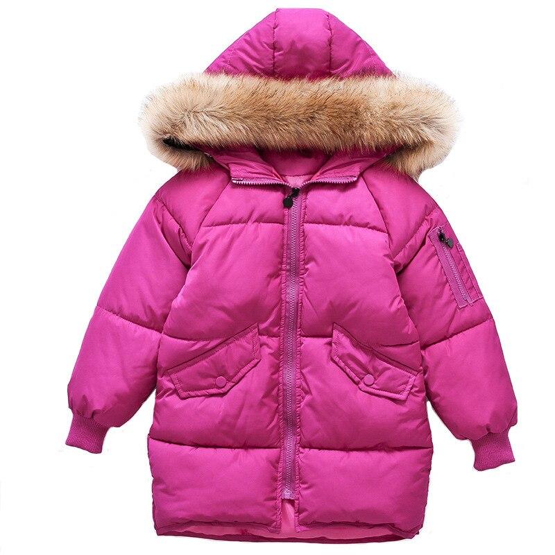 2017 High quality children jacket for girls clothes natural hair collar hooded kids winter jackets girl winter coatÎäåæäà è àêñåññóàðû<br><br>