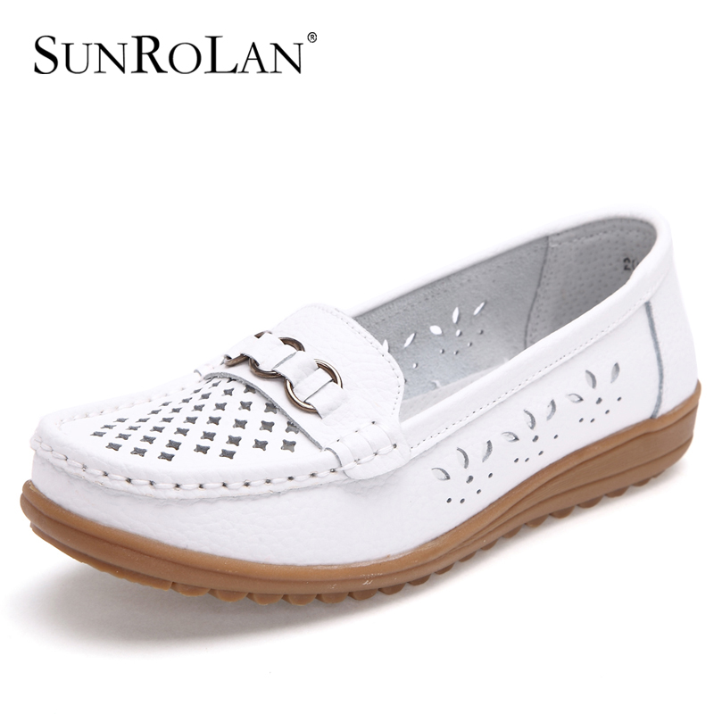 SUNROLAN 2017 Plus Size12 Women Spring Shoes Split Leather Cut out Flat Black White Nurse Shoes Woman Slip-on Loafers Shoes 2003<br><br>Aliexpress