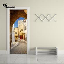 2pcs/Set Narrow Street Door Sticker DIY Mural Bedroom Home Decor Poster PVC Cabinet Waterproof Imitation 3D Home Decal H