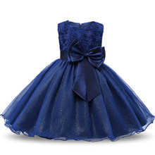 Christmas Dress Brand Flower Girl Princess Dress Lace Rose Party Wedding Birthday Baby Kids Girls Clothes Tutu Teen Girl Frocks(China)
