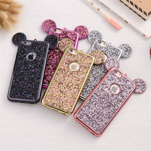 EAPHUNDAS Case For iPhone 6 6S Plus For iPhone 7 8 Plus 5 5S SE Bling Glitter Cover Mouse Cases For iPhone 6 6S Plus iPhone X(China)