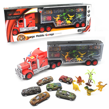 MyLitDear 14pcs/lot Portable Plastic Container Truck Alloy Car Dinosaur Model Metal Cars Toys for Children Kids Birthday Gift
