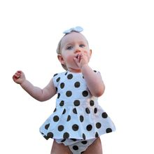 2017 Summer Girls Clothing Sets Kids Baby Girls Polka Dot Tops Dress+Short Pants Sets Baby Outfits Include 2PCS M2(China)