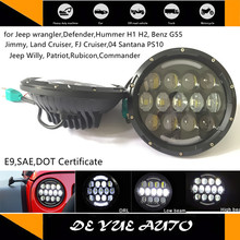 for Defender LED headlight 85w 7 inches round light E9 certificate 7inch car lamp for jeep wrangler free shipping(China)