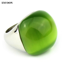 Hot sale woman big Opal jewelry Ring High quality 316L Stainless steel with Olive green cat eye stone ring in silver color G0611(China)