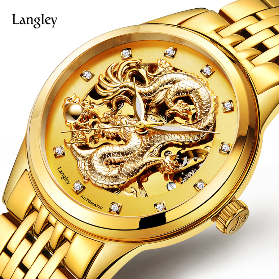 LANGLEY Luxury Brand Watches Golden Mens Business Watch Waterproof Stainless Steel Automatic Watches Male Dress Dragon Watch<br>