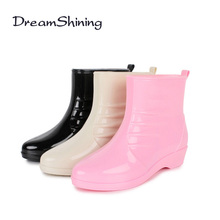 DreamShining New Fashion Rain Boots Sexy Round Toe Women Boots Slip On Ankle Boots Casual Platform Rainboots Ladies Shoes Woman