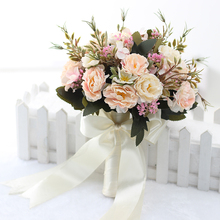 New sale Hand Holding Flower Bouquet Wedding Bridal Bridesmaid Bouquet Artificial Peony Silk Flowers Home Decoration  Ph001