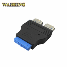 20 Pin to Dual USB 3.0 USB3.0 Female Cable Adapter Conenector Computer Mainboard 19Pin to USB Adapter Converter HY218(Hong Kong)