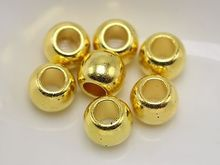 200 Gold Tone Metallic Acrylic Round Pony Beads 8X6mm Big Hole Spacer(China)