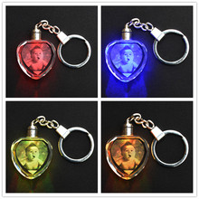 Customized Souvenirs Decoration Heart Shape LED Light K9 Crystal Crafts Keychain Laser Engrave Photos Album for Lover/Baby/Kids(China)