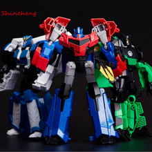SHINEHENG Deformation Robots Leader Optimus Robot Model Action Toy Figures Classic Boy Car Gift