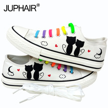 JUP Men Mans Boys Fashion Casual Canvas 3d fox Cats Animal White Cartoon Hand Painted Shoes Graffiti Lazy Shoelace Gift Footwear