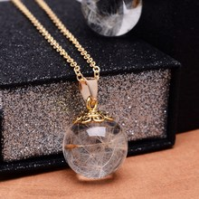 SEDmart Gold Color Real Dandelion Seed Pendant Necklaces Round Shaped Link Chain Glass Ball Necklaces For Women Jewelry
