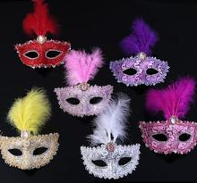 6PCS/lot Halloween Mask Venice Feather Mask Princess Dance Party Masquerade Costume Carnival Party Ball Princess Mask(China)